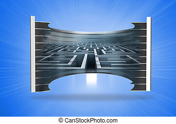 Composite image of maze on abstract screen