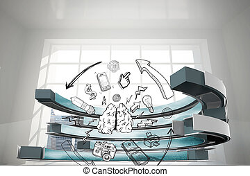 Composite image of media brainstorm in a curved structure