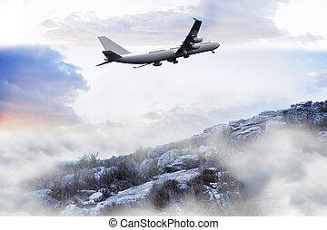 Composite image of misty landscape