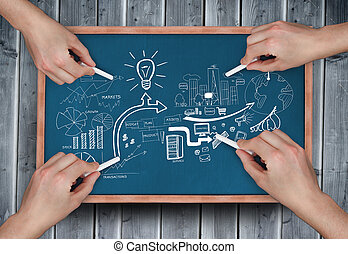 Composite image of multiple hands drawing brainstorm with...