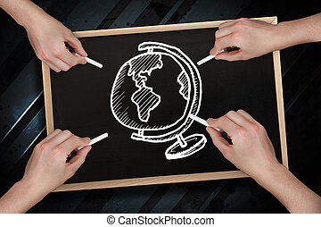 Composite image of multiple hands drawing globe with chalk