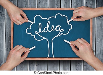 Composite image of multiple hands d