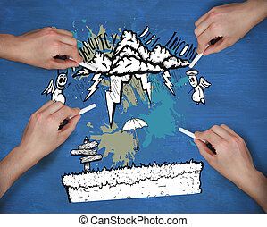 Composite image of multiple hands drawing money doodle with chalk against navy blue