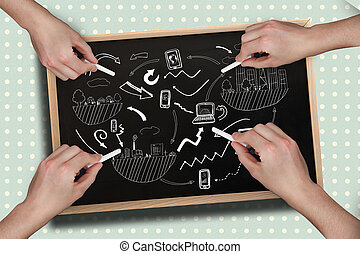 Composite image of multiple hands drawing brainstorm with chalk