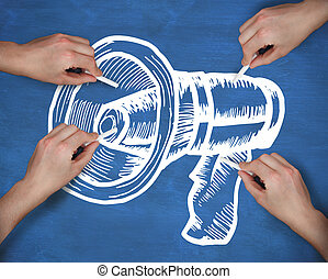 Composite image of multiple hands drawing megaphone with chalk
