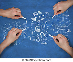 Composite image of multiple hands writing brainstorm with...