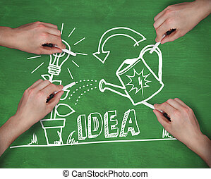 Composite image of multiple hands writing idea with chalk