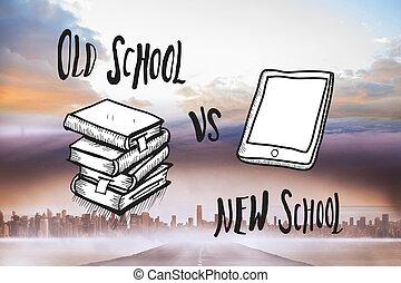 Composite image of old school vs ne - Old school vs new...