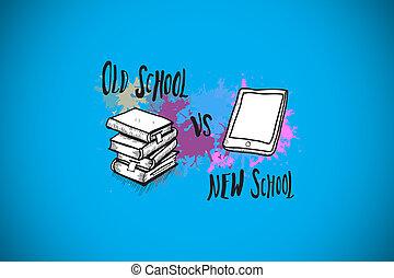 Composite image of old school vs new school on paint splashes