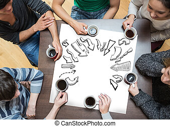 Composite image of people sitting around table drinking coffee