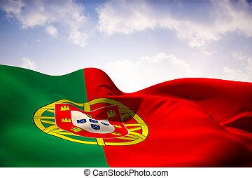 Composite image of portugal flag waving