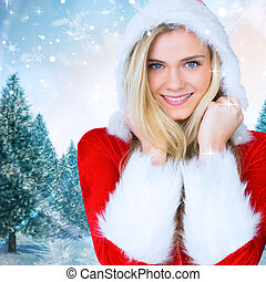 Composite image of pretty girl smiling in santa outfit -...