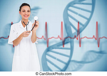 Composite image of pretty nurse listening with stethoscope...