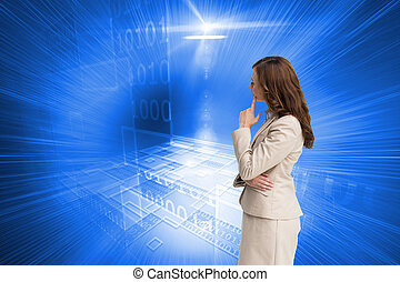 Composite image of profile view of doubtful businesswoman standing on white background