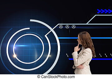 Composite image of profile view of doubtful businesswoman standing