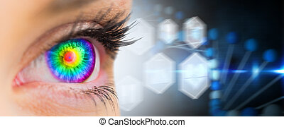 Psychedelic eye looking ahead on female face against medical icons in hexagons interface menu