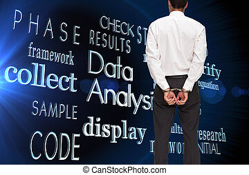 Composite image of rear view of young businessman wearing...