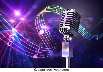 Retro chrome microphone against digitally generated music symbol design