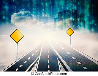 Composite image of road over clouds with road signs on it -...