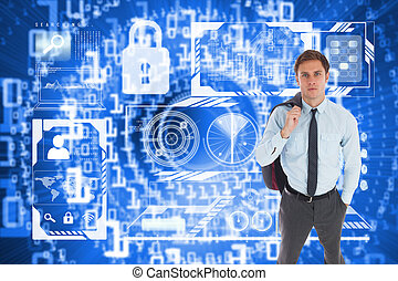 Composite image of serious businessman holding his jacket -...