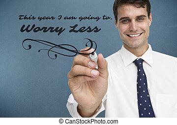 Composite image of smiling businessman holding marker