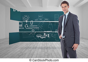 Composite image of smiling businessman with hand on hip