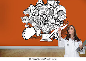 Composite image of smiling doctor pointing - Composite image...