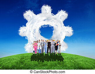 Composite image of smiling group of people with different...