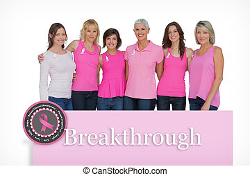 Composite image of smiling women posing with pink tops for breas