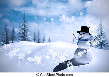 Composite image of snow man - Composite image of snowman...