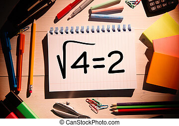 Composite image of square root of four on notepad - Square...