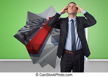 Composite image of stressed businessman with hands on head