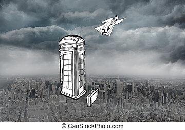 Composite image of superhero flying doodle