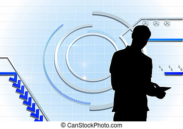 Composite image of technological background with circle and...