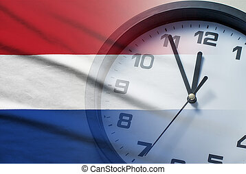Composite image of the Netherlands flag and clock