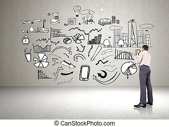 Composite image of thinking businessman holding pen