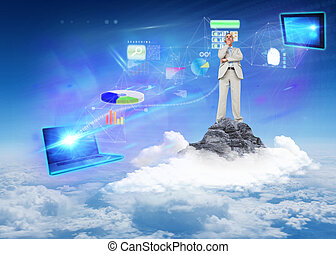 Composite image of thinking businessman - Thinking...