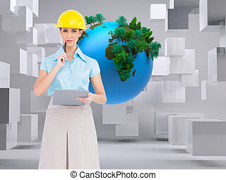 Composite image of thoughtful attractive architect on white background holding clipboard