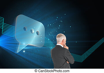 Composite image of thoughtful businessman standing back to camera