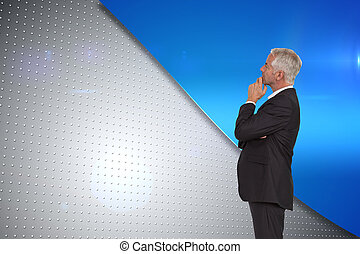 Composite image of thoughtful mature businessman posing
