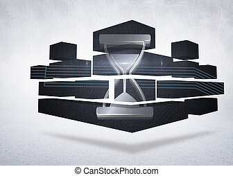 Composite image of timer on abstract screen
