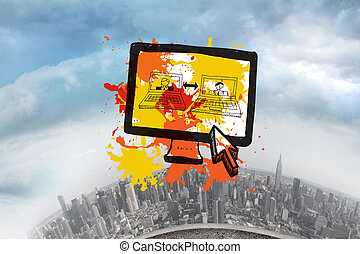Composite image of vide chat on paint splashes