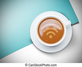 Wifi symbol against blue card