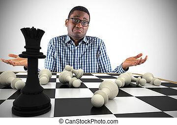 Composite image of young businessman shrugging shoulders