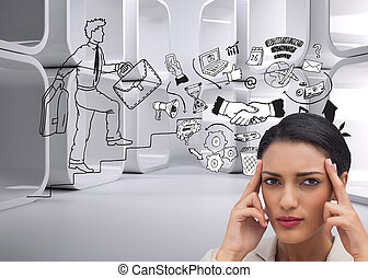 Composite image of young businesswoman putting her fingers ...