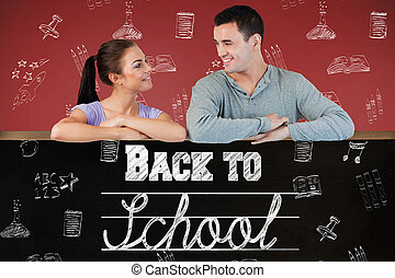 Composite image of young couple looking at each other while lean