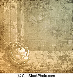 Composite images of rose and grungy textures