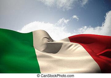 composite, italie, drapeau ondulant, image