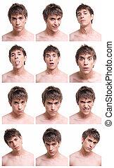 composite, jeune, isolé, fond, expressions, figure, blanc, homme