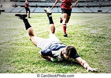 composite, joueur rugby, sauter, numérique, stade, image, ...
